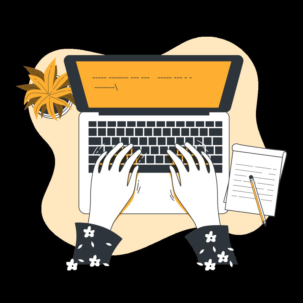 Ilustración de escritura a mano en un pc - web copywriting - cómo escribir para la web
