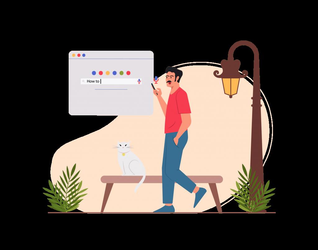 Samayo.org Blog, Illustration Person gehen und suchen google - schreiben Sie Artikel für eine Website - schreiben für das Web