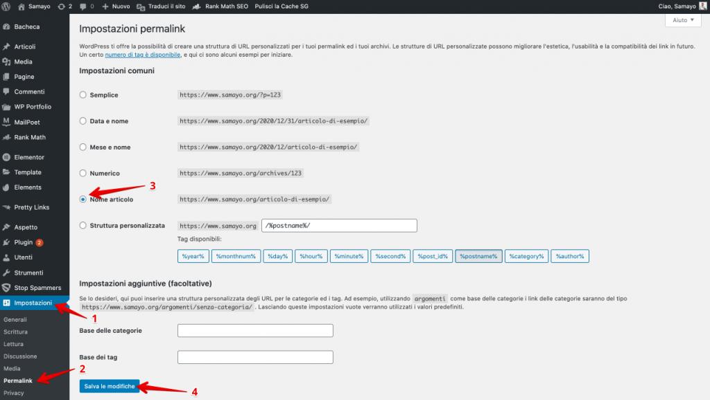 Cambiar la configuración de permalink para optimizar un sitio para MOTORES DE BÚSQUEDA - Consejos de SEO para principiantes (1)