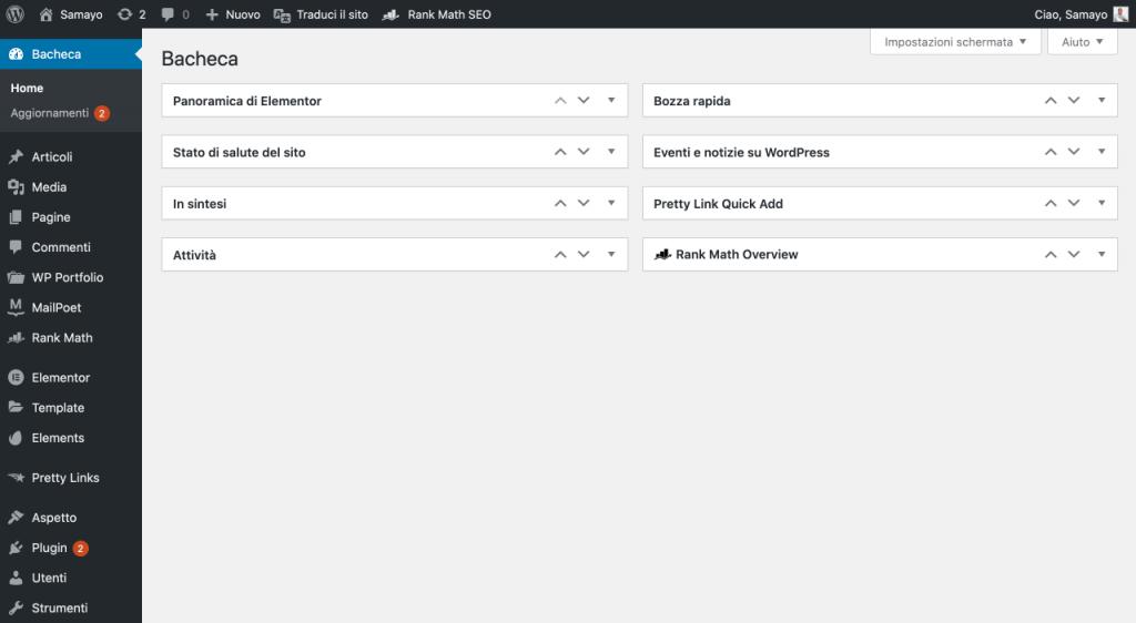 WordPress Dashboard eines Blogs - wie man einen Blog startet (1)