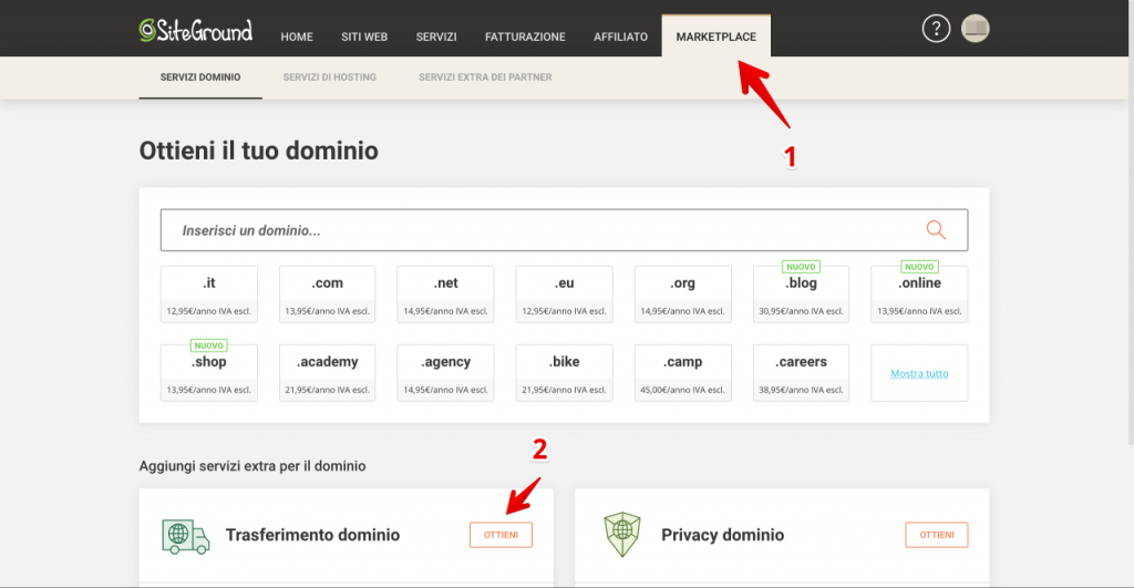 Come Trasferire un dominio su siteground - recensione siteground opinioni (1)