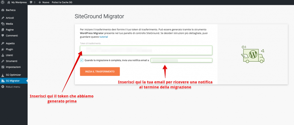 Come installare siteground migrator su un sito wordpress per fare una migrazione da un hosting all'altro