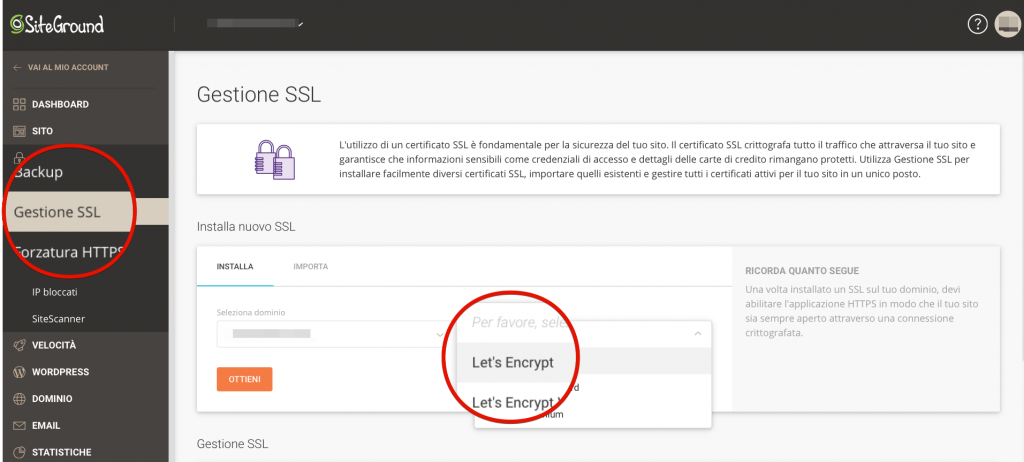 Come installare un certificato SSL su siteground tutorial italiano (1)