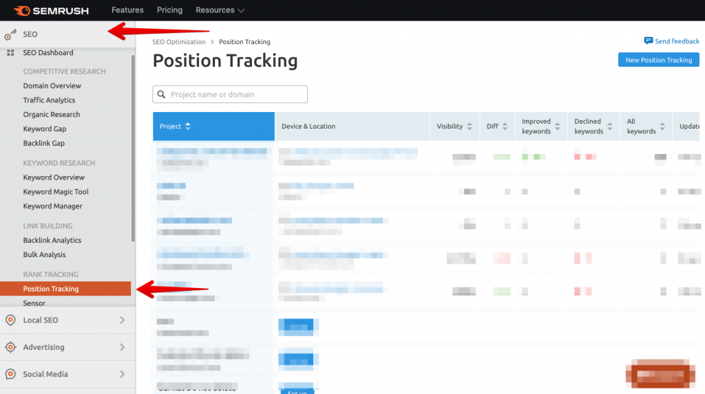 Position monitoring in the SEMrush seo toolkit - how to do keyword research with semrush (2)