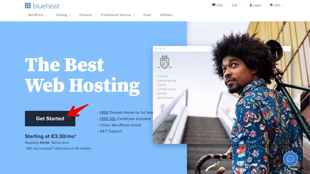 Schritt 1 - wie man ein erfolgreiches Blog erstellt - Anleitung für Anfänger zum Starten eines Blogs von Grund auf Tutorial Domain und Hosting mit bluehost kaufen