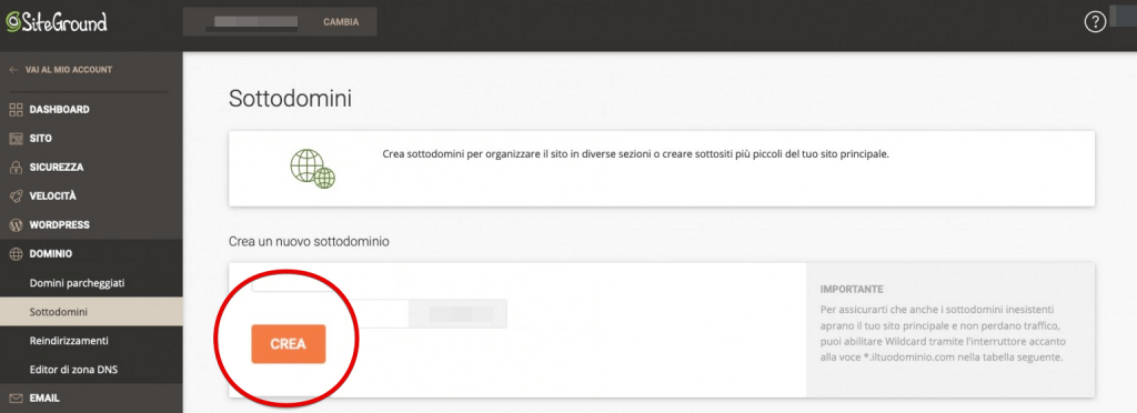 come creare un sottodominio con siteground (1)