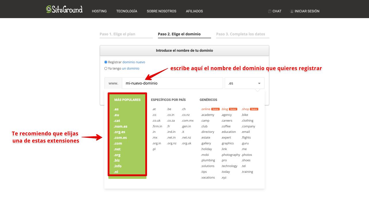Siteground elección de dominio crear un sitio web con wordpress 1 1