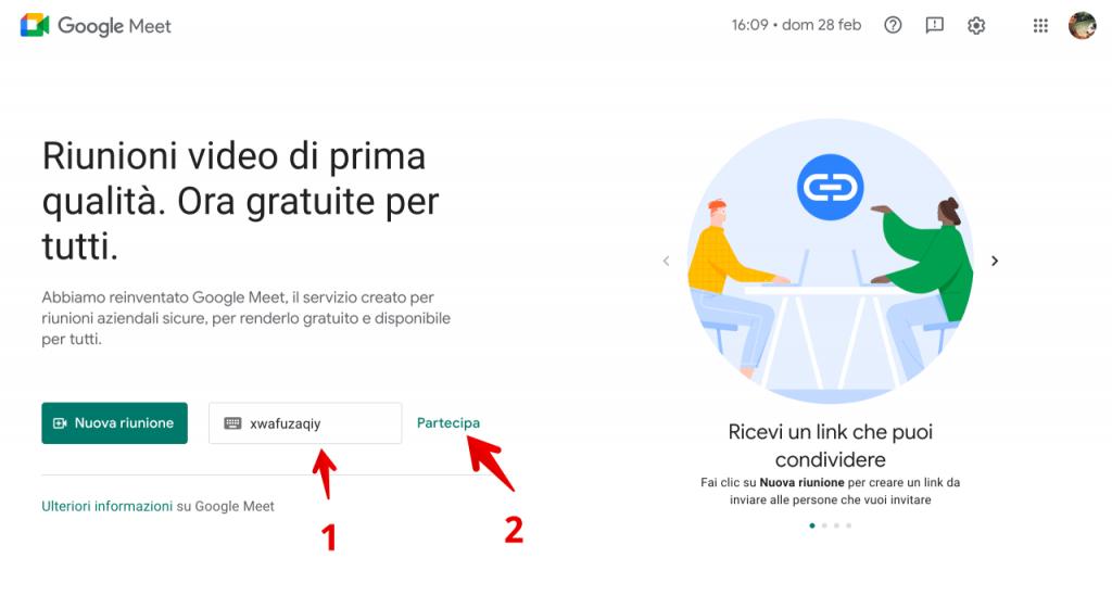come partecipare a una riunione di Google Meet (1)