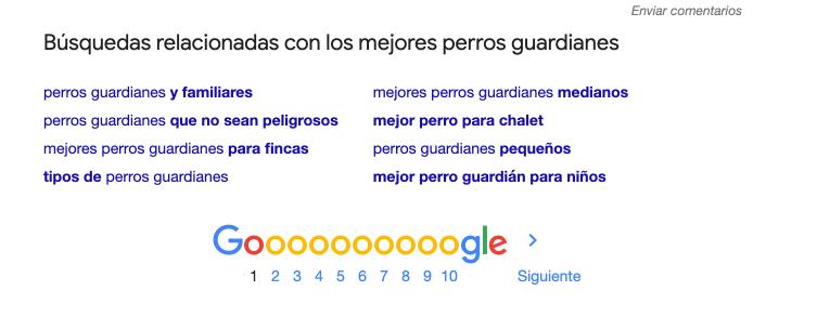 Búsquedas relacionadas con _mejores perros guardianes_ - Otiimización para los motores de búsqueda gracias a google sugieren -.