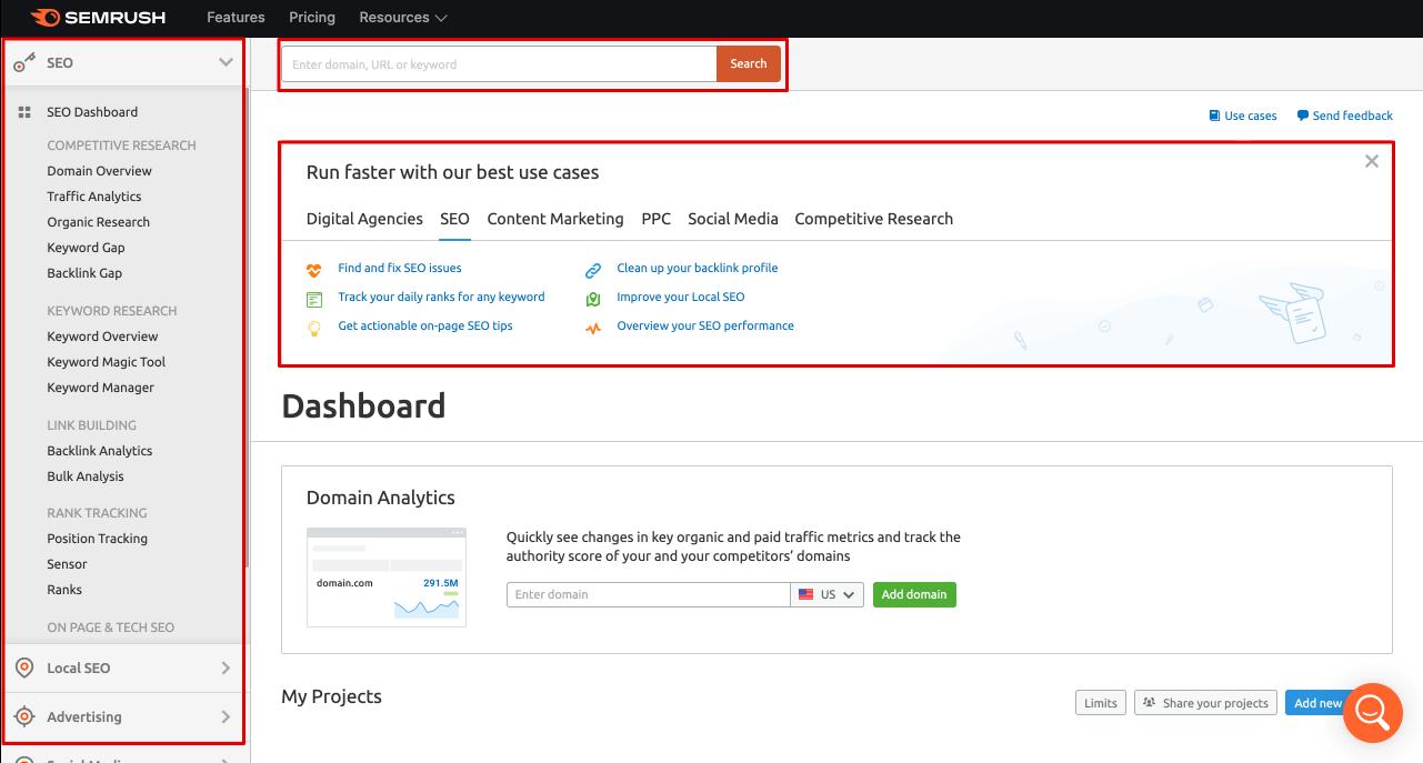 Semrush Dashboard - semrush control panel