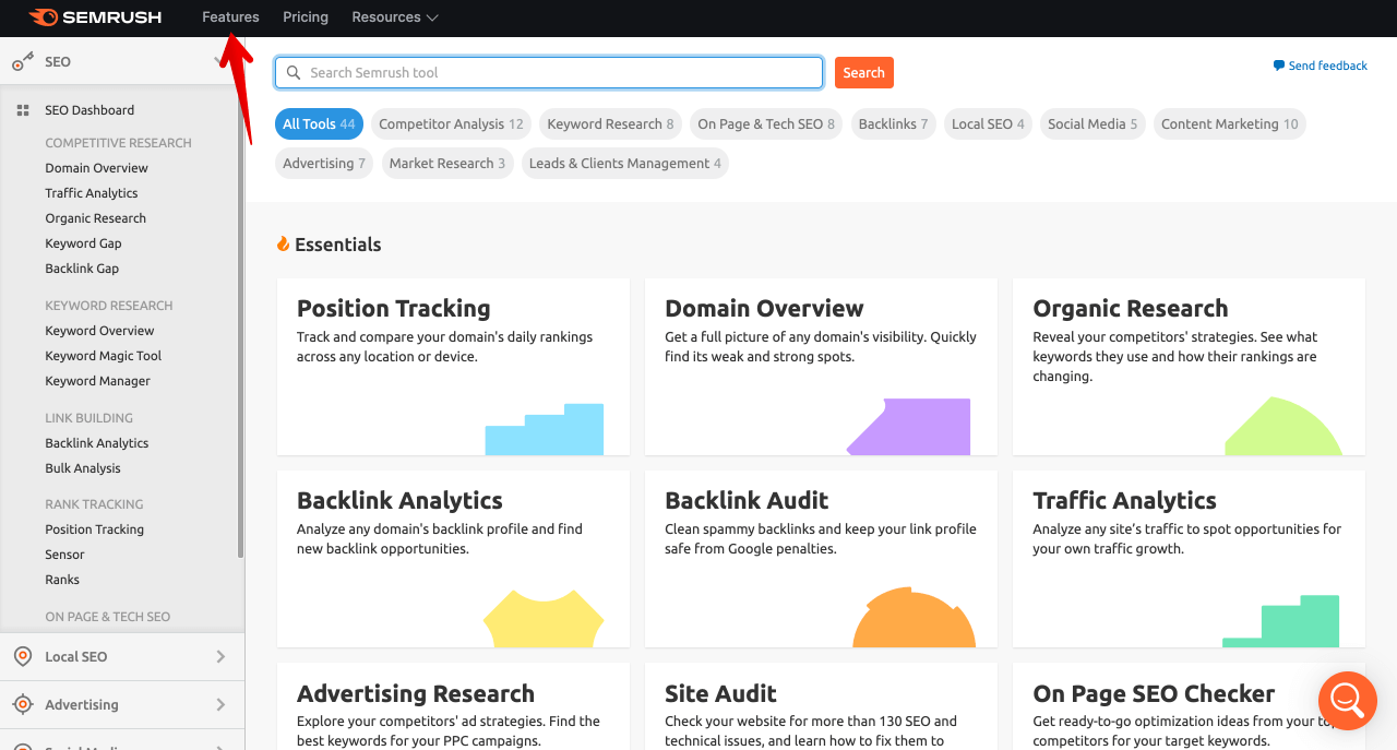 SEMrush features for doing keyword research with SEMrush 2 1