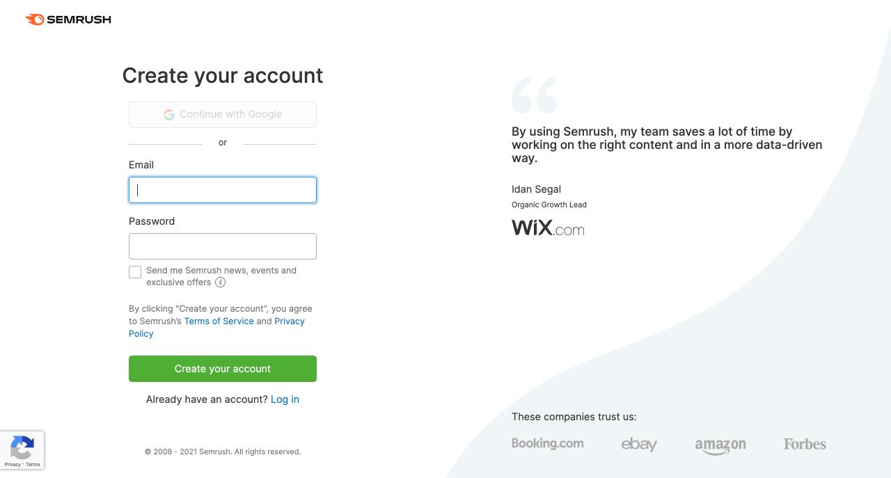 How to create a free SEMrush account (1)
