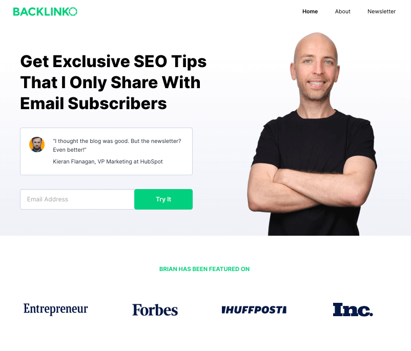 Squeeze page backlinko